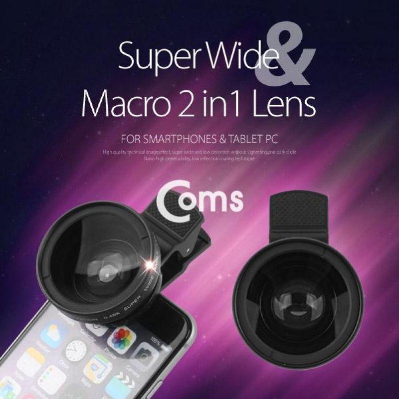 Coms 스마트폰 카메라 확대경2 in 1 37mm 셀카렌즈 Super Wide Macro