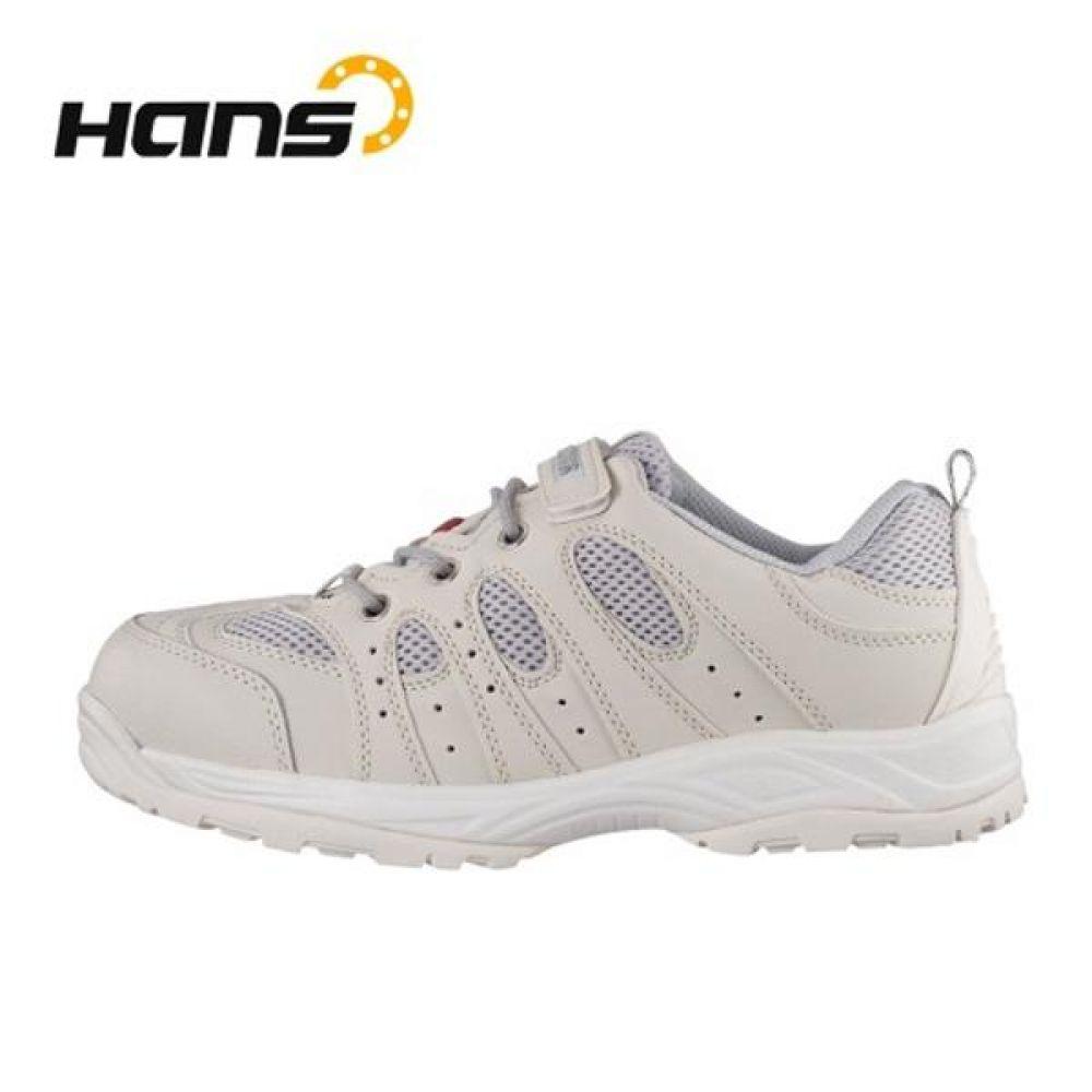 한스 HS-34 피카소(WH) 크린룸화 4in 보통작업용 단화 안전화 HANS 한스산업 단화 가죽안전화 찍찍이안전화 작업화 현장화