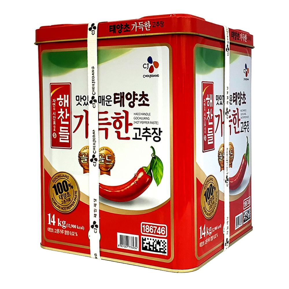 해찬들 태양초 가득한 고추장 14kg 대용량 캔 업소용 고추장 된장 쌈장 해찬들 초장