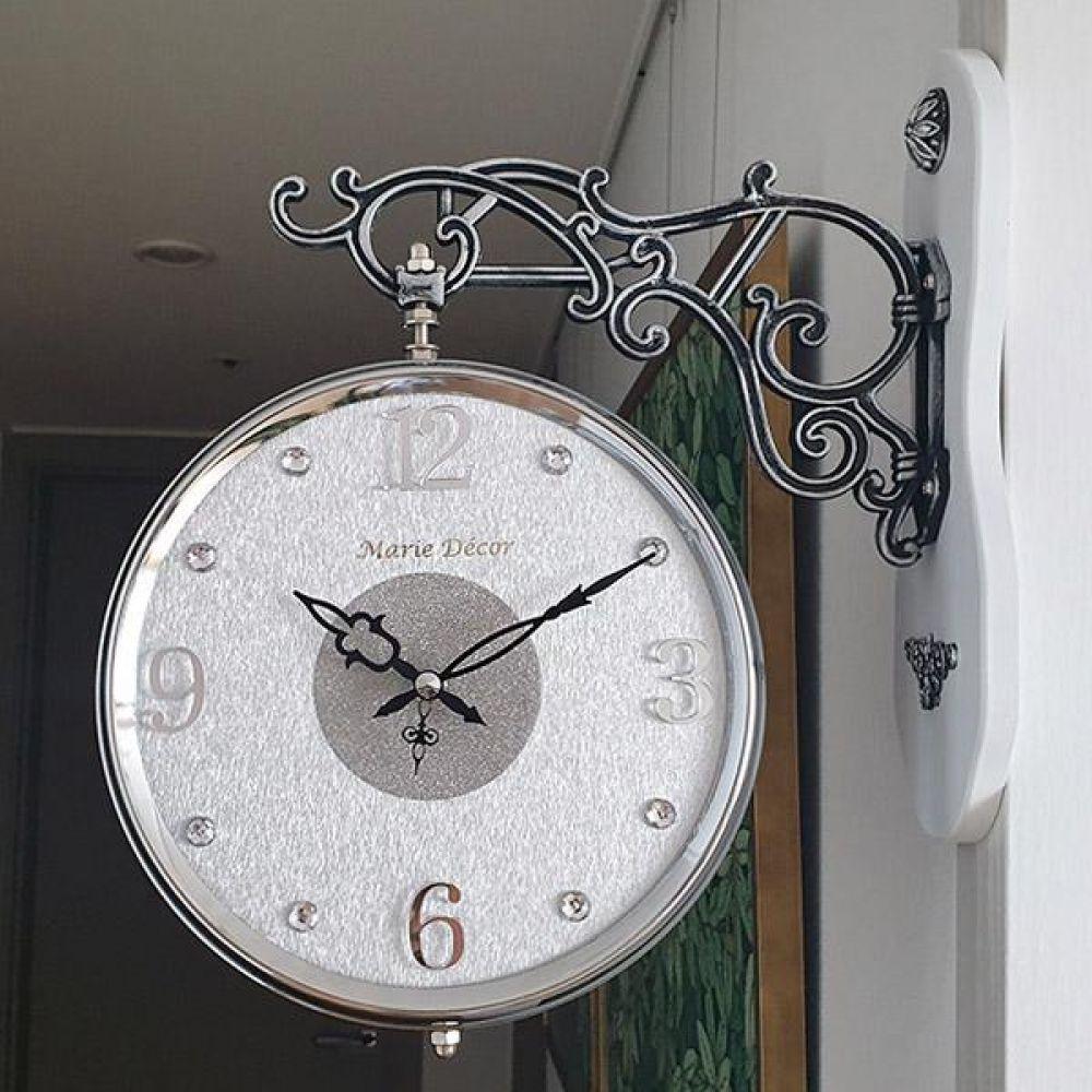 글리터 무소음 양면시계 (실버화이트) 양면시계 양면벽시계 벽시계 벽걸이시계 인테리어벽시계