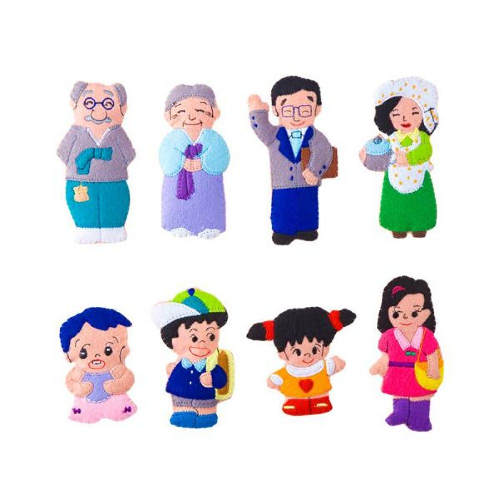 융판 탈부착 가족 토독 8종세트 완구 문구 장난감 어린이 캐릭터 학습 교구 교보재 인형 선물