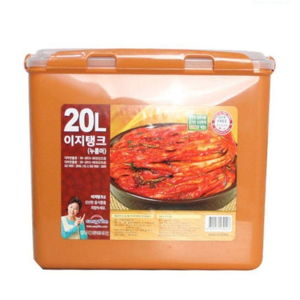 황토 이지탱크 누름이 김치통20L 김장 밀폐 보관 용기 냉장고