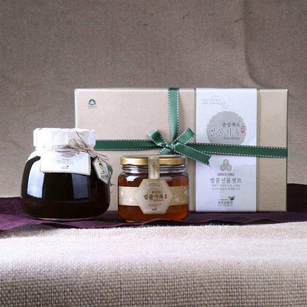 에덴양봉원_윤상복의 벌꿀가족 1호 1.5kg 꿀 벌꿀 벌꿀세트 꿀세트 천연벌꿀 명절선물 선물세트 명절선물세트 설선물