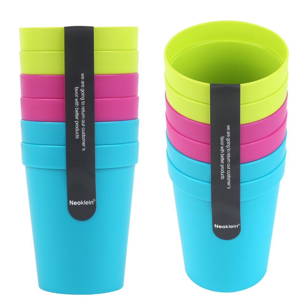 네오 플라스틱 칼라컵 (1팩 6개입) 플라스틱 PP 손잡이 컵 캠핑 야외 나들이 가정 간식 음료 다용도 다회용 휴대용