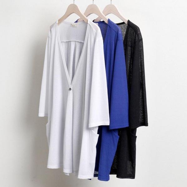 미시옷 0381RL806 허리띠 원버튼 가디건 TR 빅사이즈 여성의류 빅사이즈 여성의류 미시옷 임부복 원버튼썸머가디건