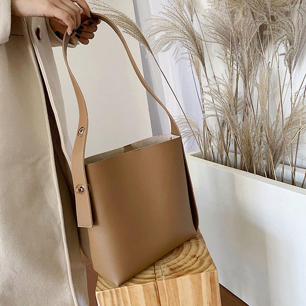 브라운 데일리 숄더 크로스백 여성 가방 내부 파우치 숄더백 캔버스숄더백 여성숄더백 여자숄더백 캔버스백