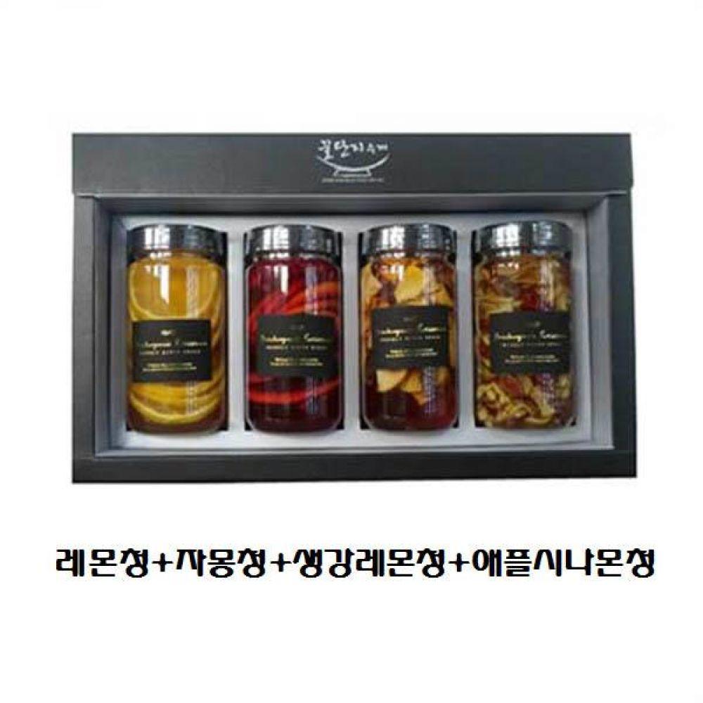 (수제 과일청 4구 선물세트) 레몬청 x 자몽청 x 생강레몬청 x 애플시나몬청 청 조청 과일 조림 단맛