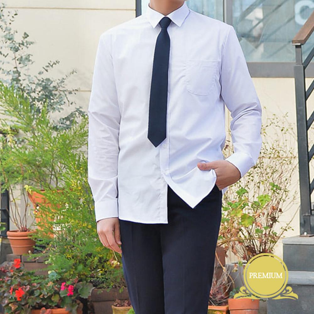 프리미엄 스판 남성 화이트 셔츠(컬러체크) 교복셔츠 교복 교복쇼핑몰 교복와이셔츠 남자교복 학생복 교복남방 교복블라우스 여자교복 고등학교교복