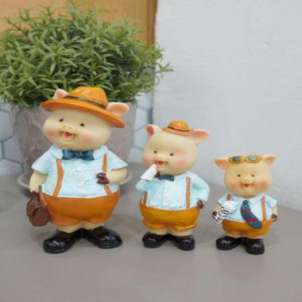 멜빵 돼지 3형제 장식인형 인테리어소품 선반장식품 장식소품 거실장식품