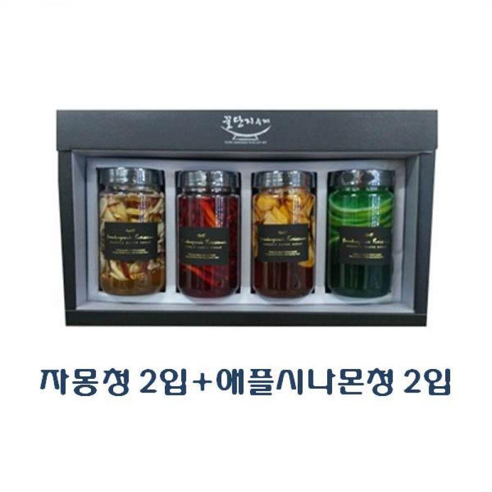 (수제 과일청 선물세트) 자몽청 300ml(2입) x 애플시나몬청 300ml(2입)_100퍼센트 원당만 사용 청 조청 과일 조림 단맛