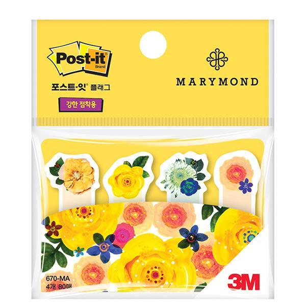 MWSHOP 3M 포스트잇 마리몬드 슈퍼스티키 노란장미 플래그 670-MA 분류용 인덱스탭 엠더블유샵