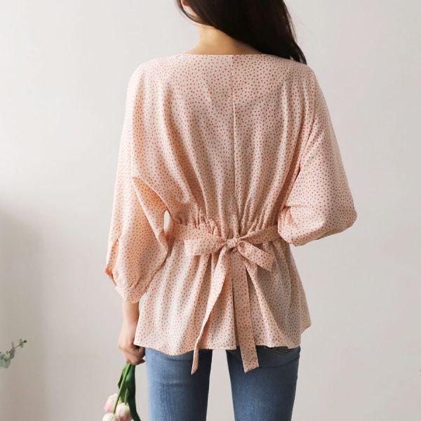 브이패턴블라우스 1025034 BLOUSE 프린트 패턴셔츠 아이보리 Ivory 핑크 Pink 소라 Sky Blue