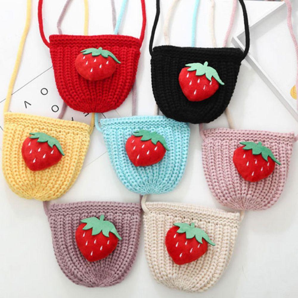 딸기 니트 가방 아동용니트가방 니트가방 아동가방