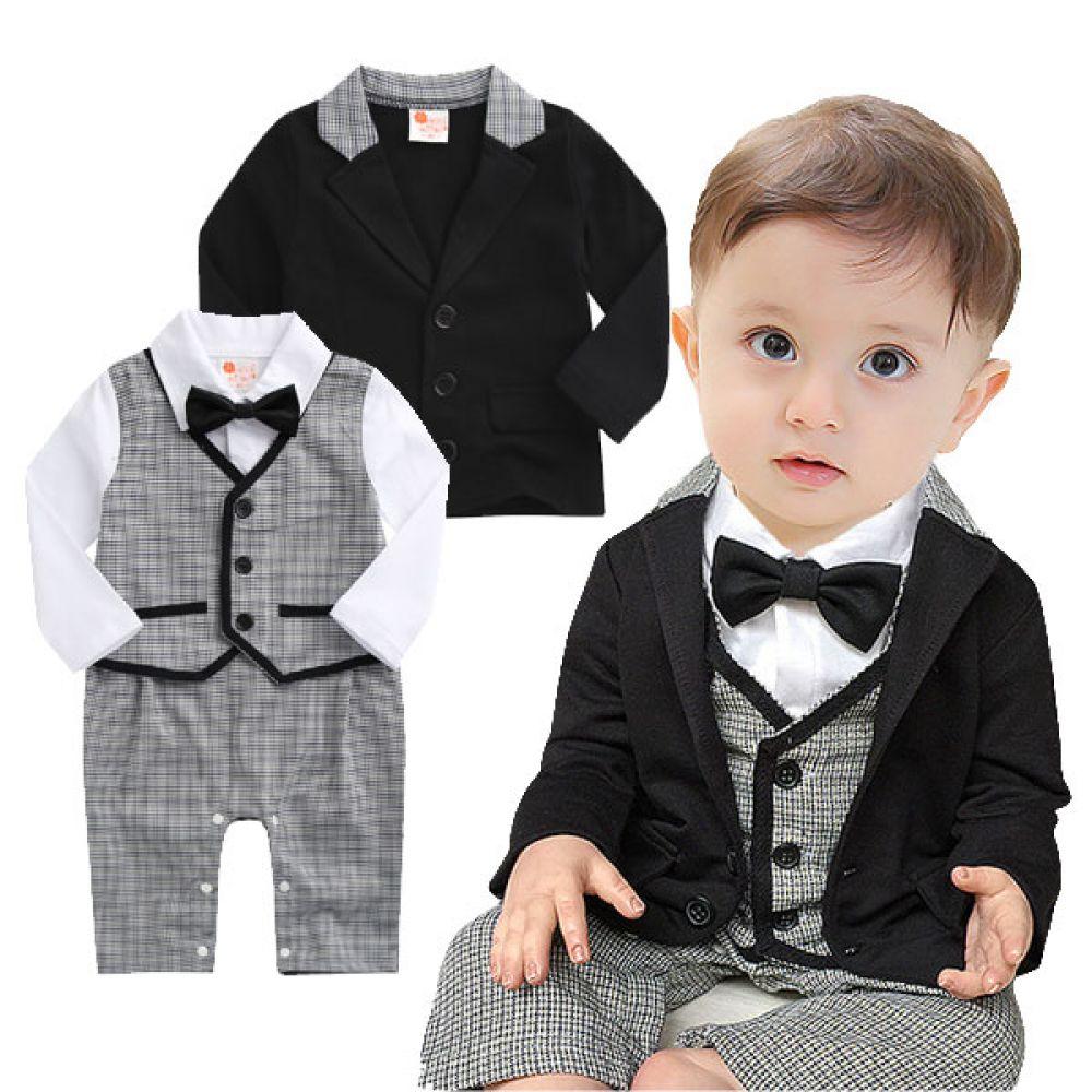 체크 유아정장 3종세트(6-24개월) 300206 아기우주복 롬퍼 룸퍼 바디슈트 백일복 아기옷 아기정장 아기턱시도
