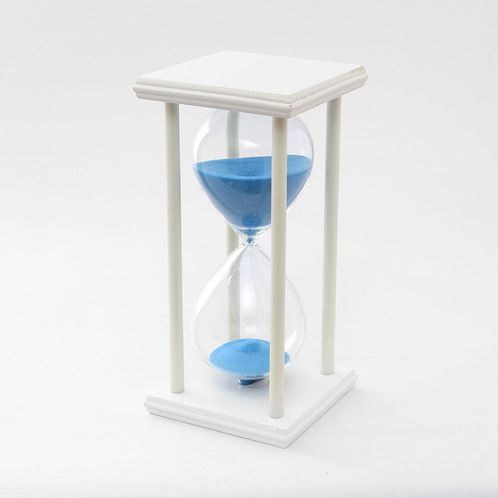 30분 인테리어 유리모래시계 모래시계 화이트원목 욕실용품 반신욕시계 타이머 30분모래시계 욕실시계