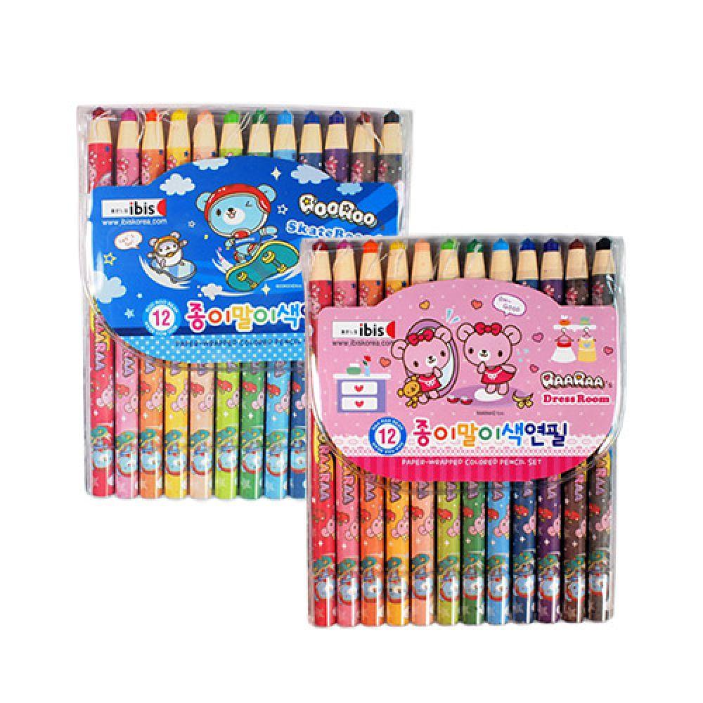 아이비스 4000 12색 종이말이 색연필 무독성 1개