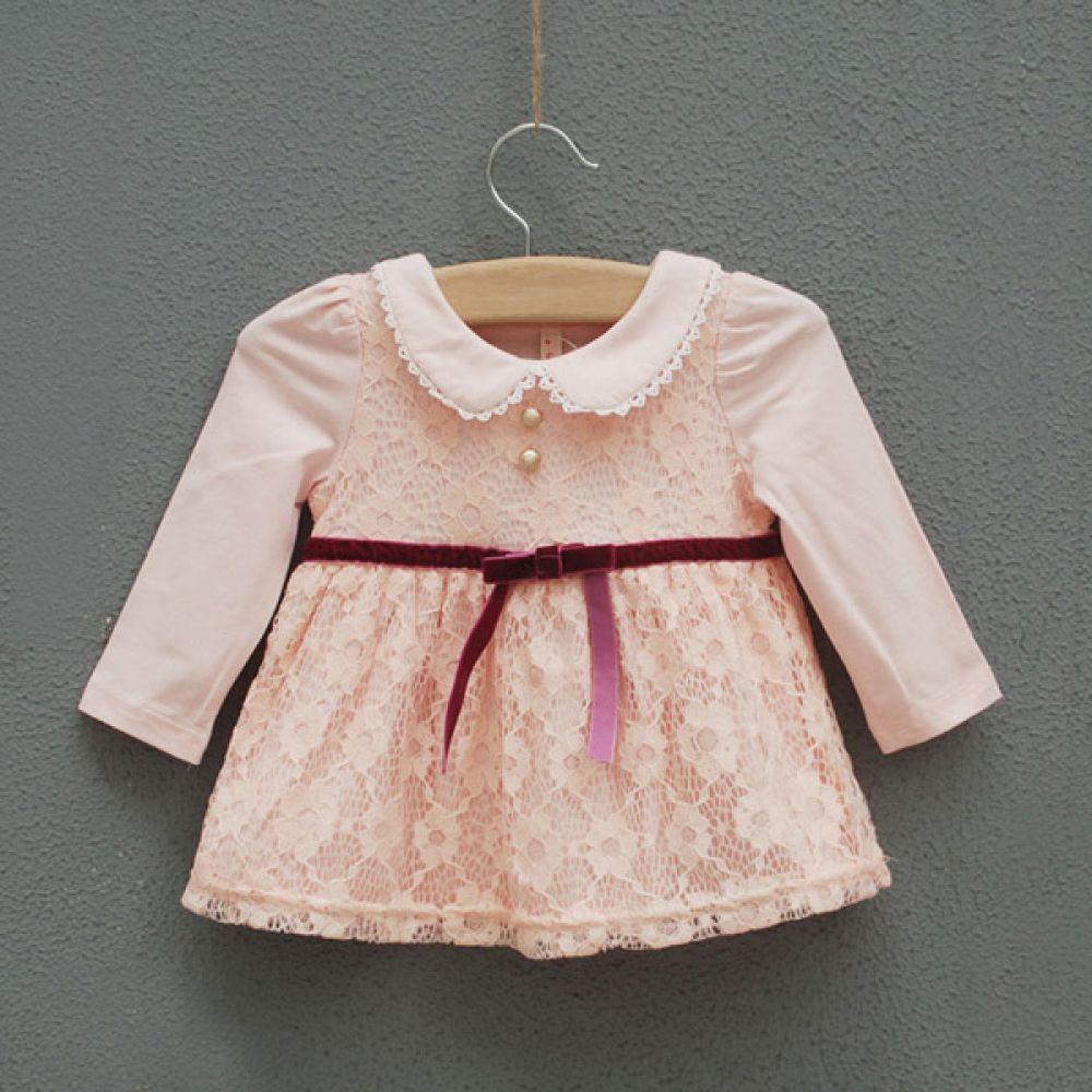 럭셔리 레이스 원피스 핑크 (12-36개월) 202243 원피스 아기옷 유아옷 신생아옷 엠케이 조이멀티