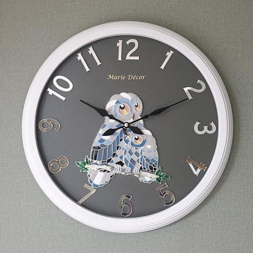 미러넘버 벽시계 (컬러블록 부엉이 실버) 벽시계 벽걸이시계 인테리어벽시계 예쁜벽시계 인테리어소품