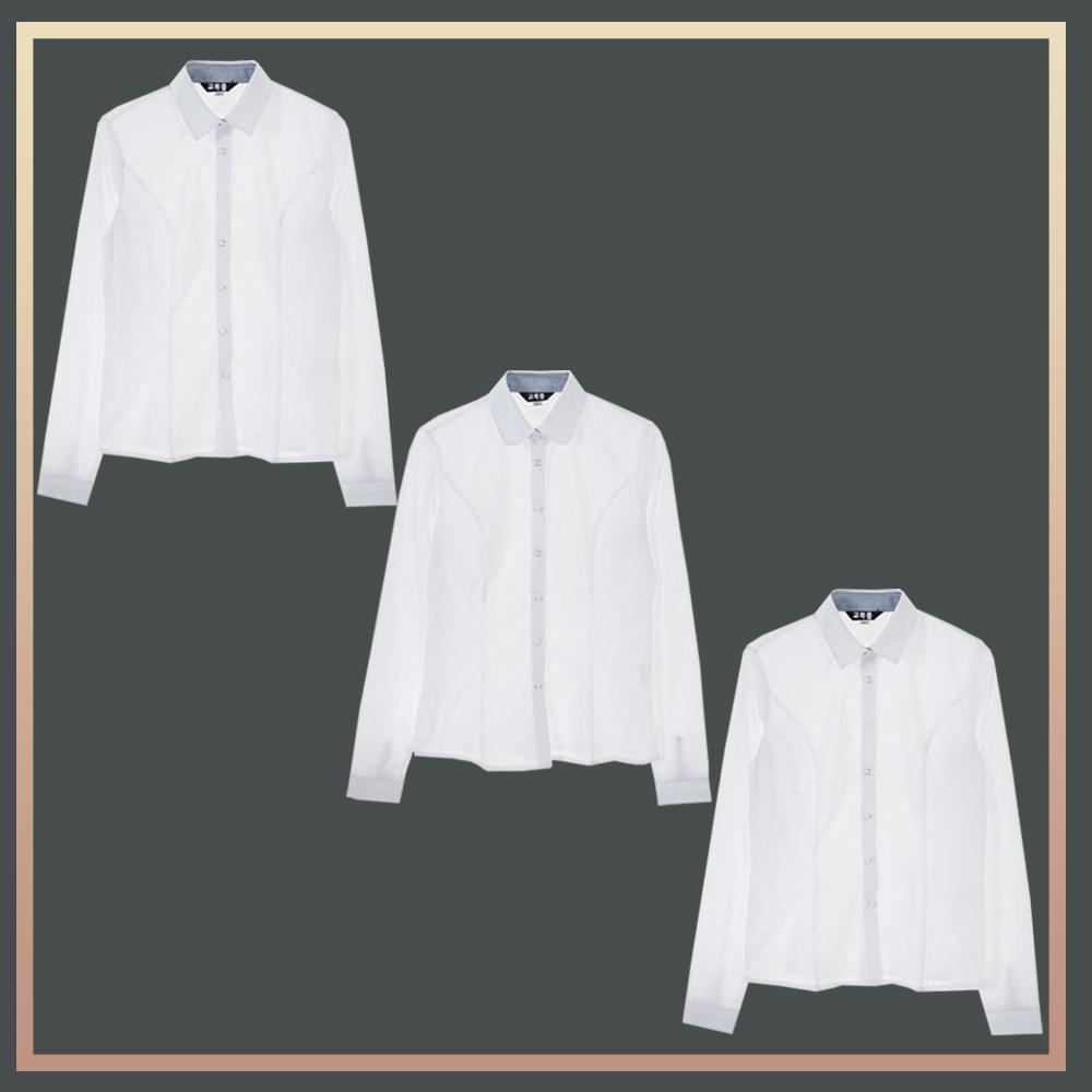 (빅사이즈) 밝은 블루 프리미엄 블라우스 3PCS 패키지 교복 교복쇼핑몰 교복몰 여자교복 학생복 남자교복 학생복쇼핑몰 고등학교교복 중학교교복 교복셔츠