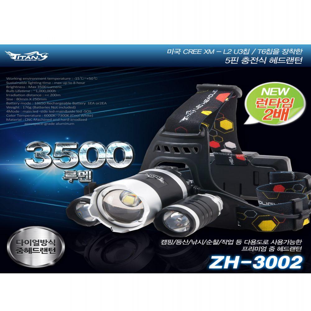 타이탄코리아 ZH-3002 LED 헤드랜턴 블랙세트 낚시랜턴 작업랜턴 등산랜턴 LED랜턴 캠핑랜턴