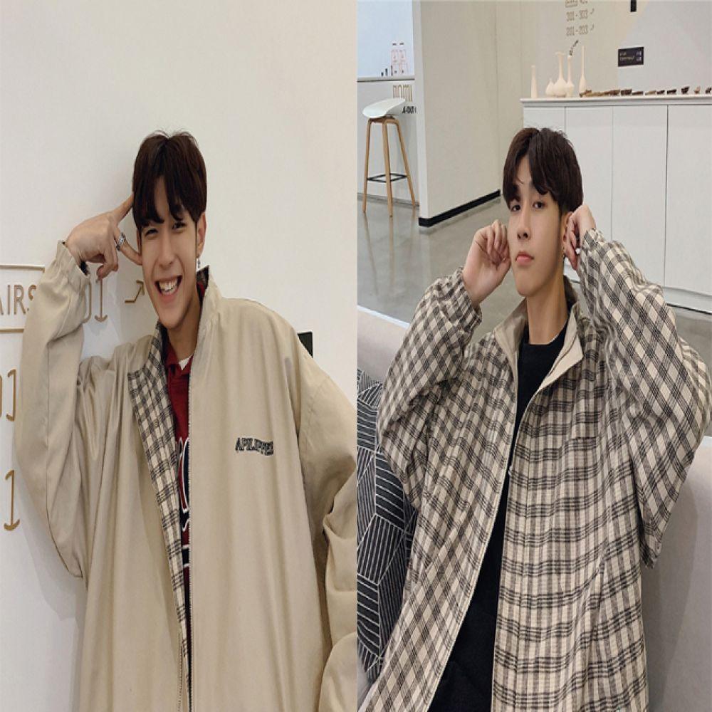 남녀공용 오버핏 체크 양면 자켓 HH-C14 리버시블 양면자켓 양면점퍼 여성자켓 남성자켓