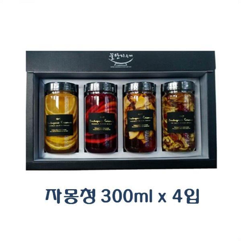(수제청 선물세트) 자몽청 300ml x 4입_진짜 좋은 과일청 고급 트라이탄 용기 포장 청 조청 과일 조림 단맛