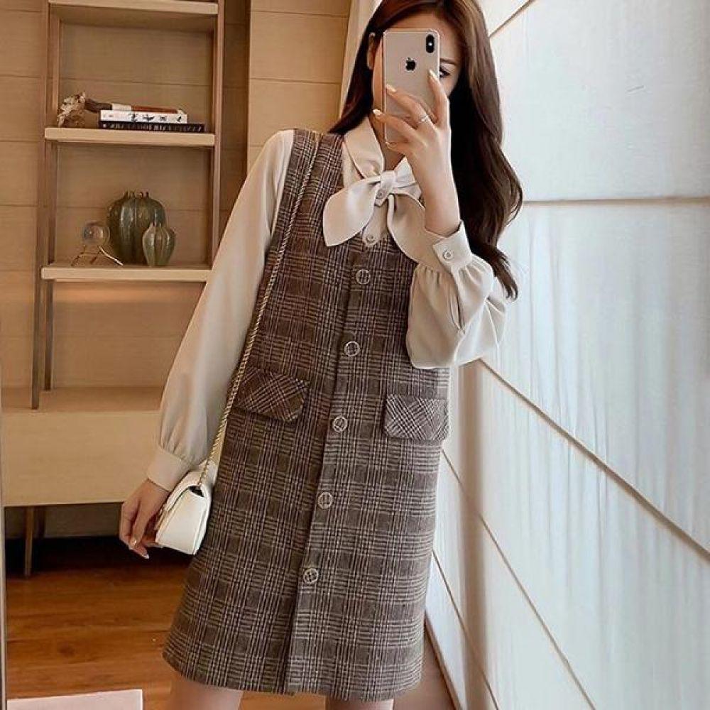 나비 셔츠 격자무늬 원피스세트 코디세트 여성옷 원피스세트 블라우스 원피스블라우스 코디세트 겨울원피스 여성원피스세트