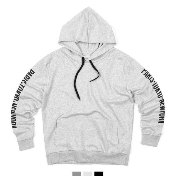 남녀공용 파리도쿄 레터링 후드티셔츠