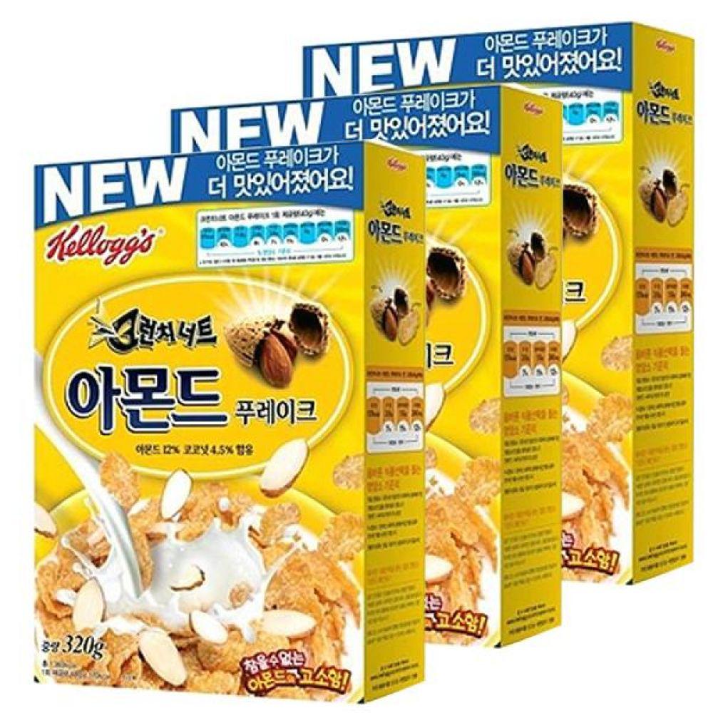 농심)아몬드 푸레이크 320g x 6개 고소하고 영양 많은 달지않고 깔끔한 맛 아침식사 식사 아침 대체식 콘 옥수수