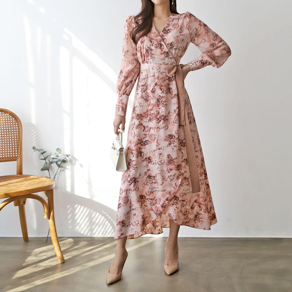 튤립 꽃무늬 원피스 1048226 DRESS 쉬폰 레이스원피스 베이지 Beige 그린 Green 핑크 Pink 캐주얼