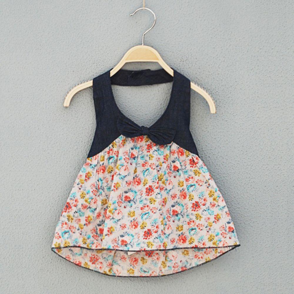 데님 리본 플라워 원피스 (6개월-4세) 202057 원피스 롬퍼 아기옷 신생아옷 엠케이 조이멀티