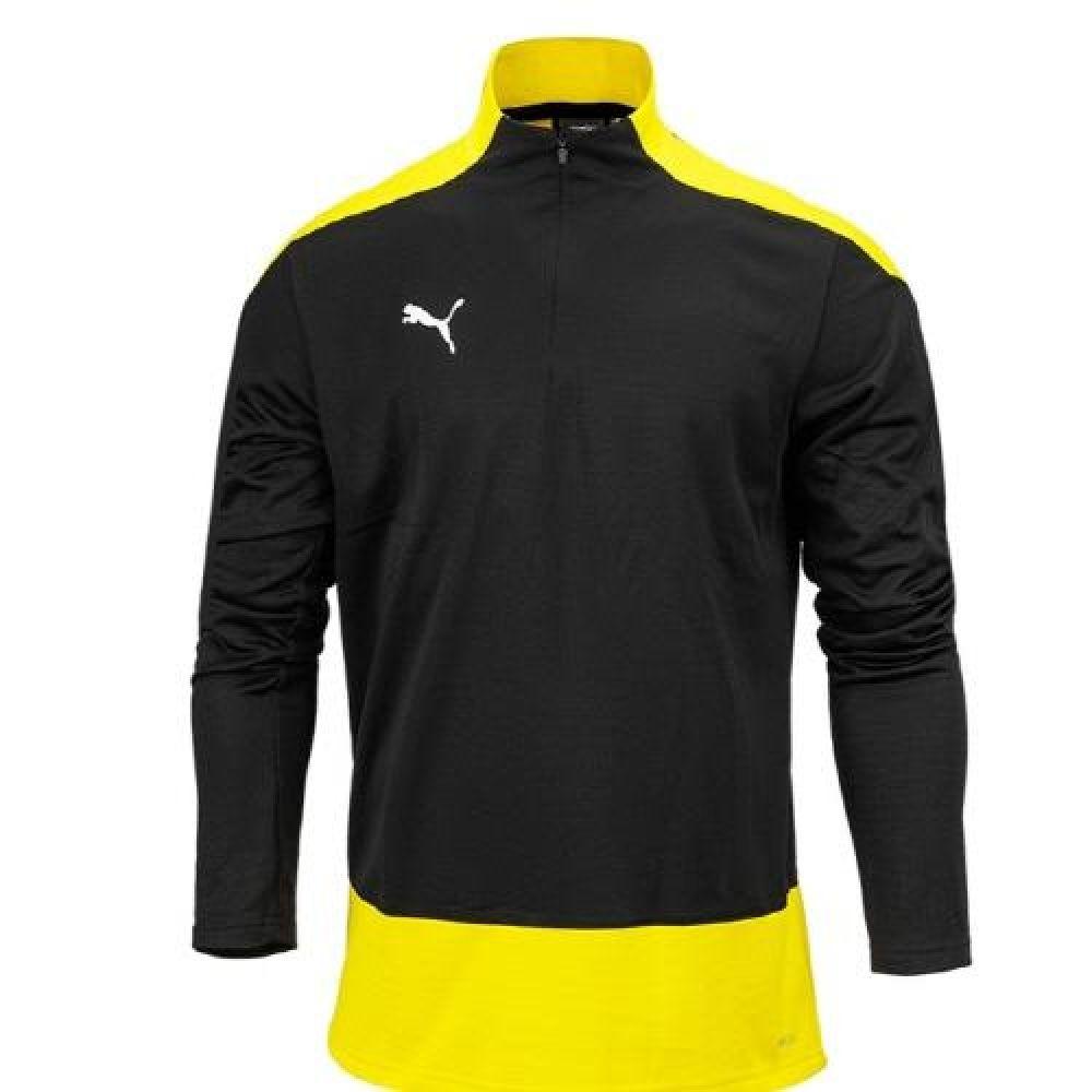 푸마 팀골23 트레이닝 반집업 티셔츠 블랙옐로우 푸마티셔츠 트레이닝티셔츠 스포츠티셔츠 운동티셔츠 반집엎티셔츠