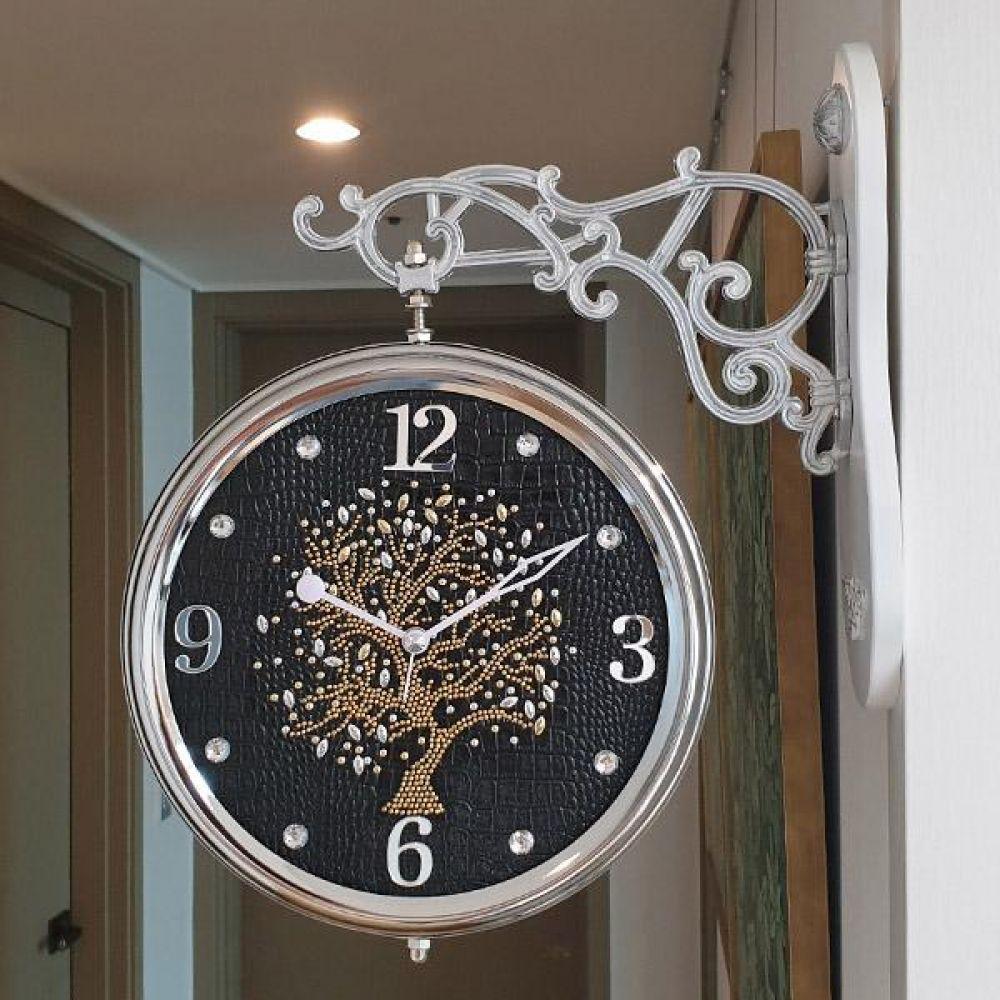 행운나무 무소음 양면시계 (블랙) 양면시계 양면벽시계 벽시계 벽걸이시계 인테리어벽시계