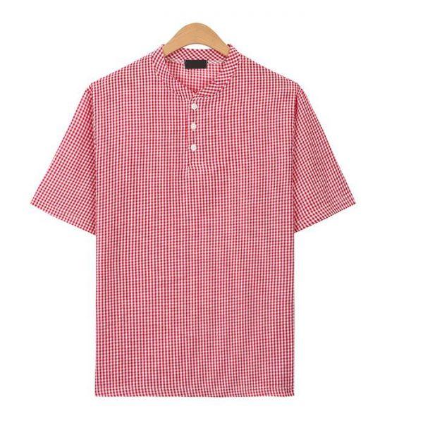 레드 시어서커 핀체크 헨리넥 티셔츠_CMT016 헨리넥반팔티 남자반팔티 반팔티 무지반팔티 티셔츠 반팔티셔츠 남자티셔츠 남자오버핏반팔