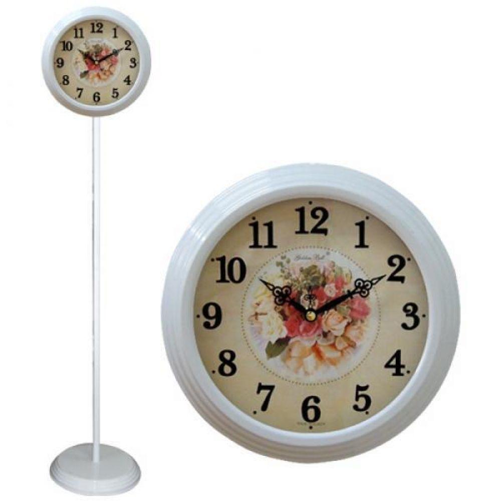 GB6063 무소음 화이트핑크장미 단면 스탠드시계 스탠드시계 인테리어시계 무소음시계 플로어시계 거실시계 장식시계 메탈시계 스틸시계 디자인시계 홈데코시계 집들이선물 오피스시계 인테리어소품