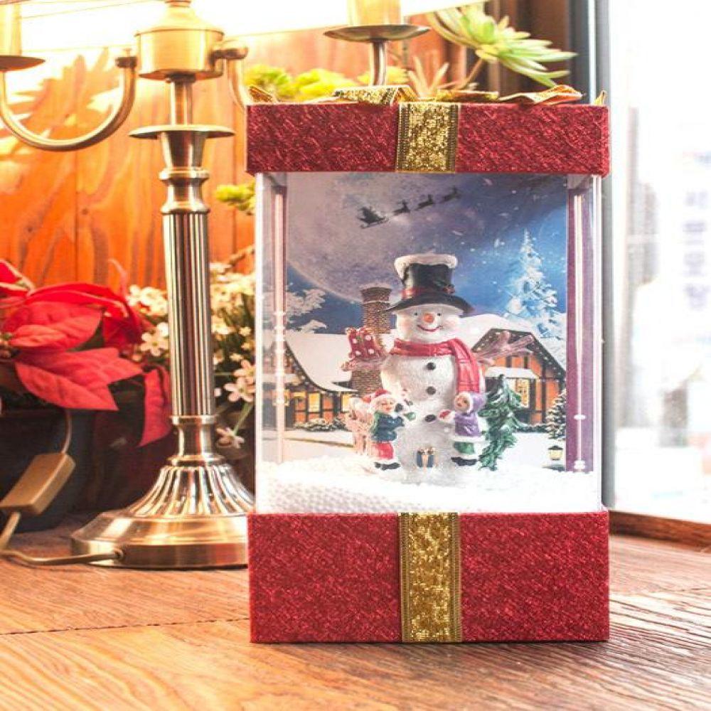 LED 선물상자 오르골 (산타트리.눈사람) 인테리어소품 오르골 미니어처소품 장식소품 크리스마스소품