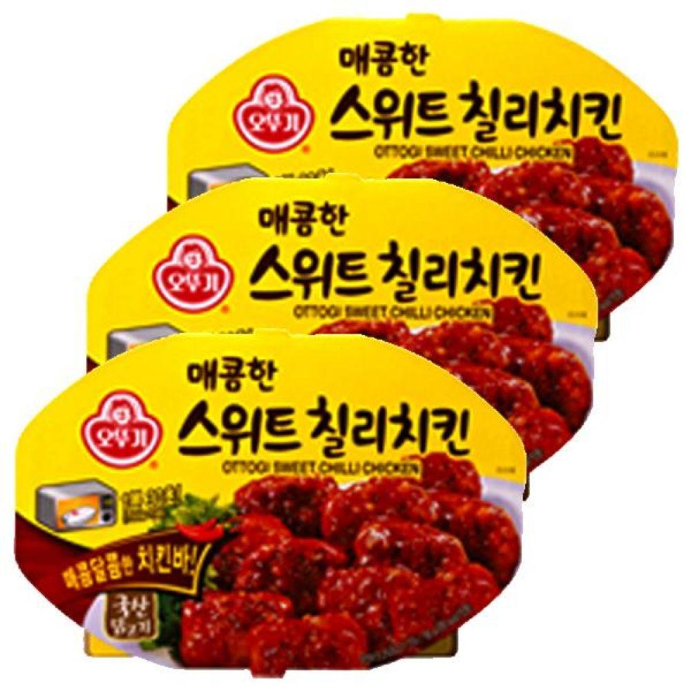 오뚜기)매콤한 스위트칠리치킨 렌지용 180g x 6개 칠리소스 벌꿀 달콤 닭고기 즉석 레토르트 식품 닭 고기