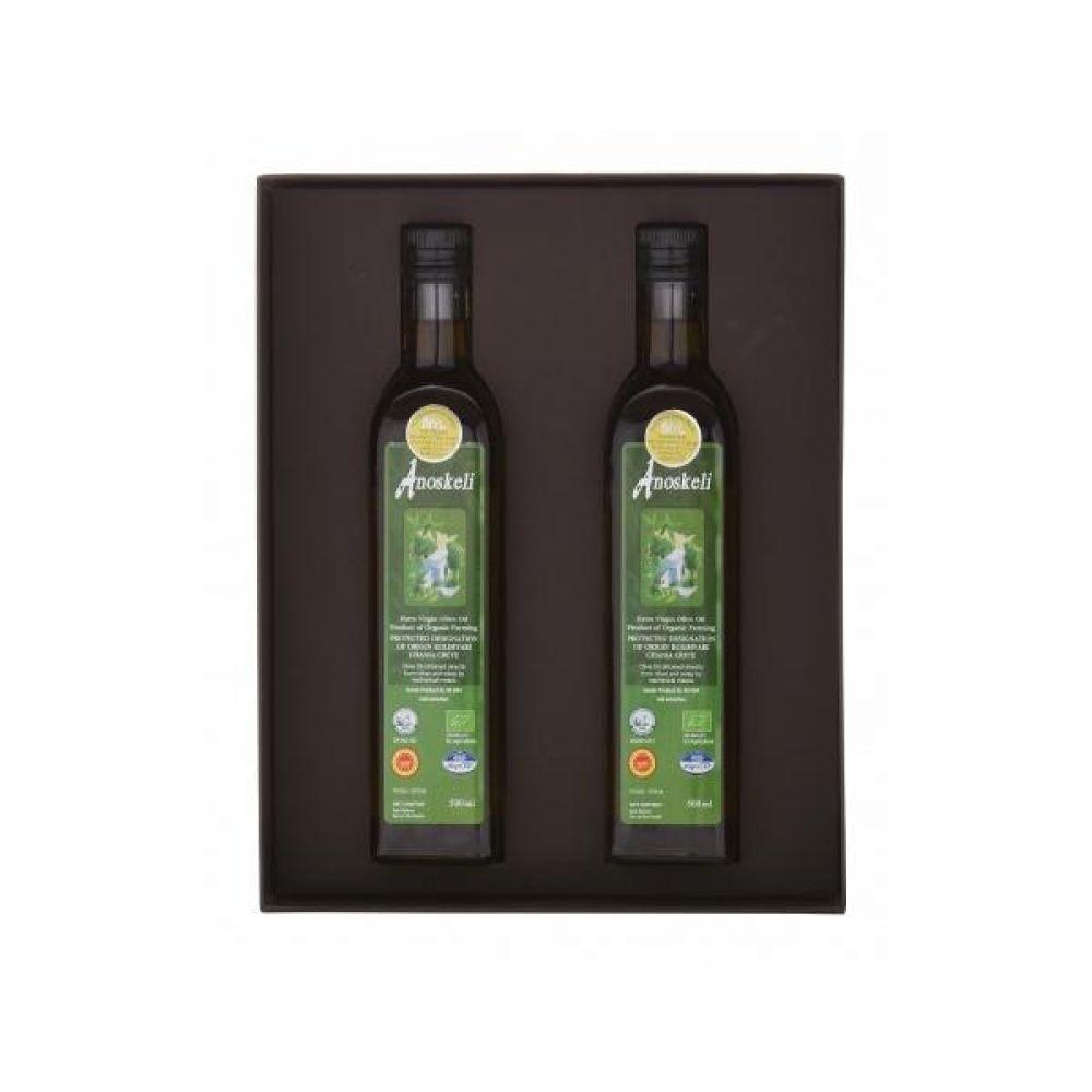(그리스 직수입)아노스켈리 압착 유기농 올리브오일(500ml) 2병 선물세트_고급박스 우레탄속지 포함 건강 올리브 기름 오일 견과류