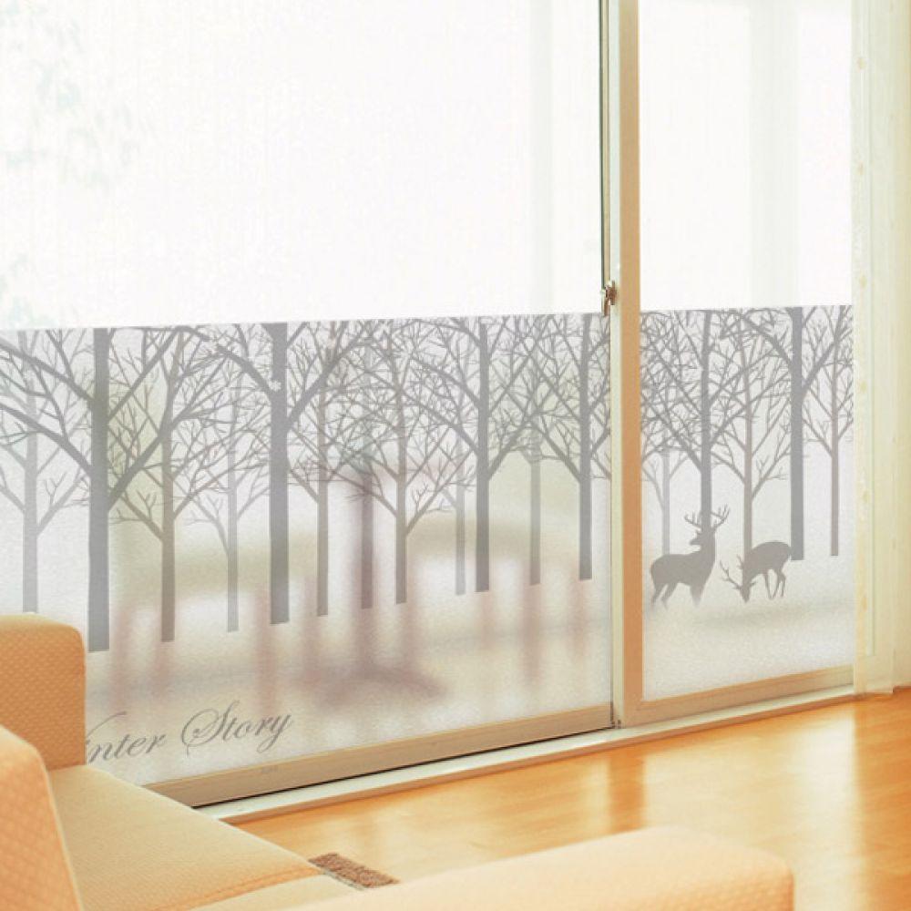 무점착유리시트지 dmim232_m 고요한겨울숲 창문시트지 글라스시트지 유리창시트지 무점착시트지 유리시트지