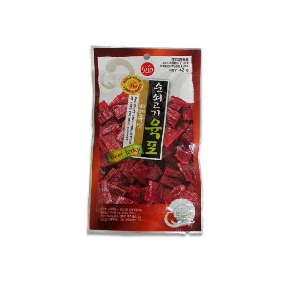 썬푸드) 순쇠고기 육포 바베큐맛 42g x 10개 술안주나 아이들 영양간식으로도 일품 간식 마른 안주 자반 안주도매