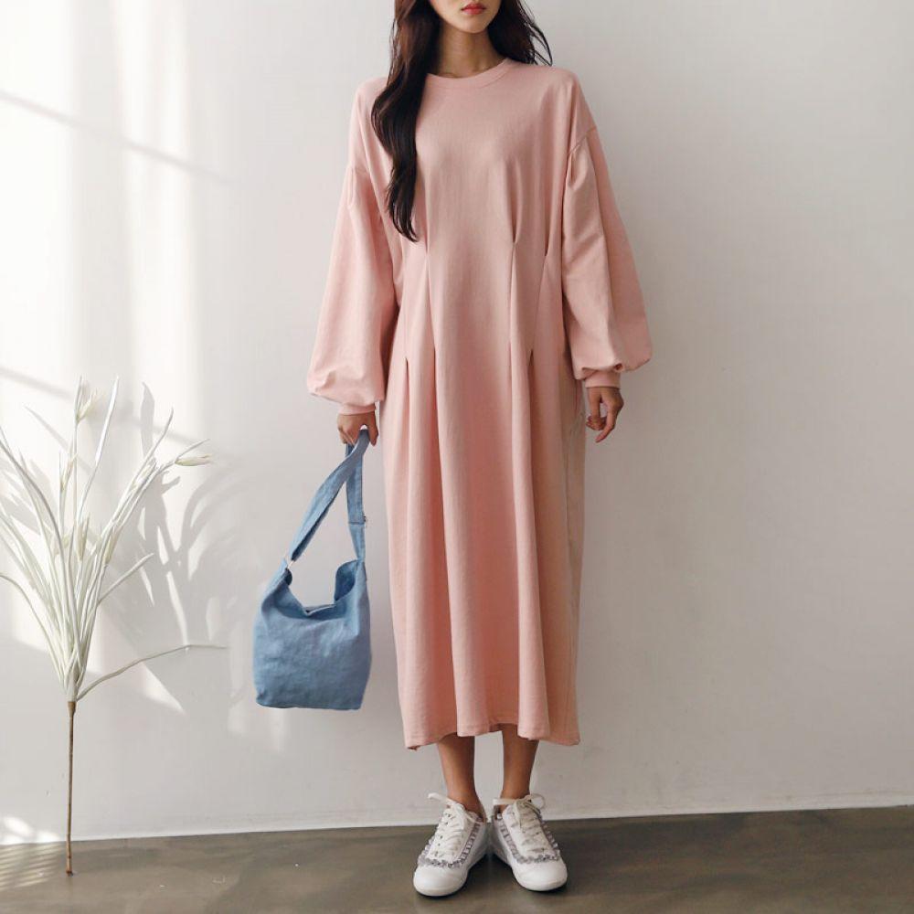 루즈핏 퍼프 롱원피스 1048220 DRESS 면원피스 블랙 Black 그레이 Gray 핑크 Pink 캐주얼