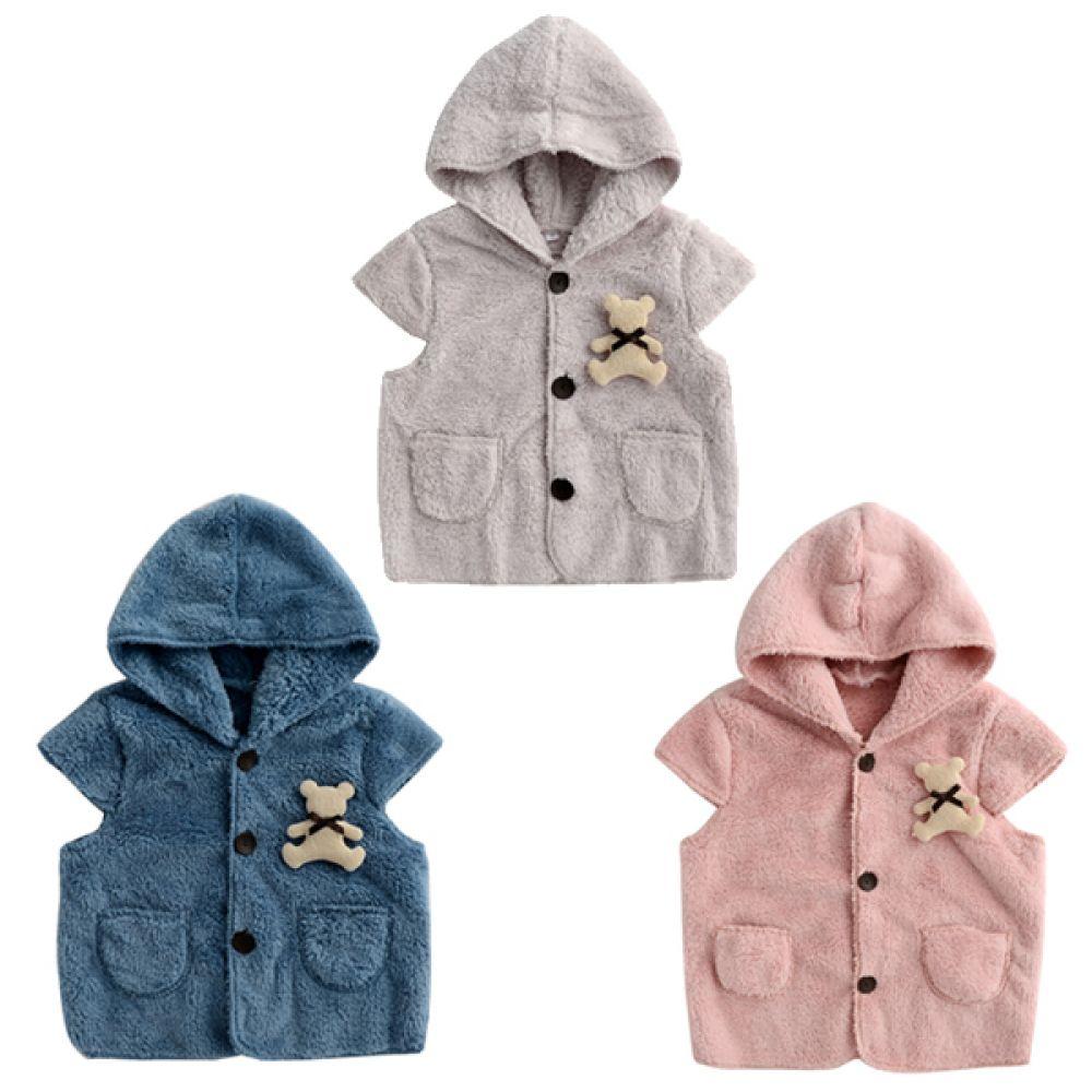 한국생산 리본 곰돌이 후드 수면조끼(S-L) 202955 아기조끼 수면조끼 유아조끼 아기옷 유아옷 가디건 배앓이예방 수면가디건 누빔수면조끼 엠케이 조이멀티