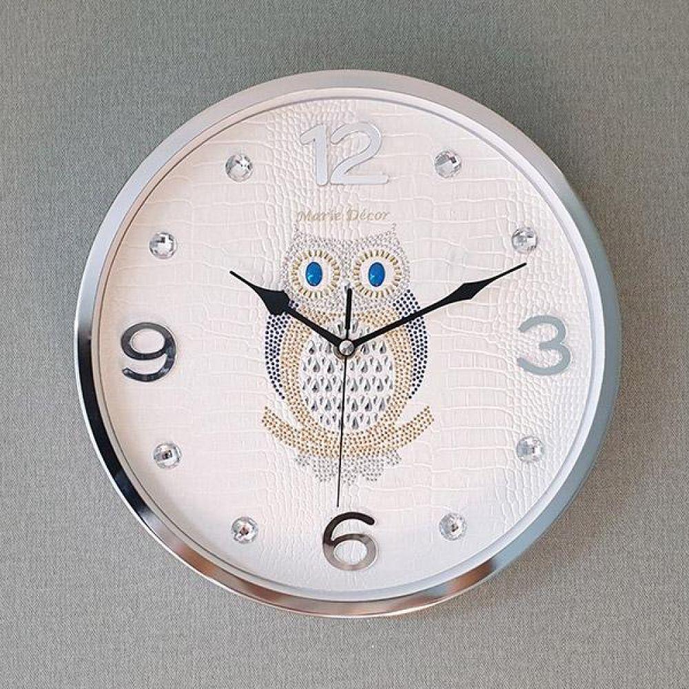 포인트 부엉이 무소음 벽시계 (아이보리) 벽시계 벽걸이시계 인테리어벽시계 예쁜벽시계 인테리어소품