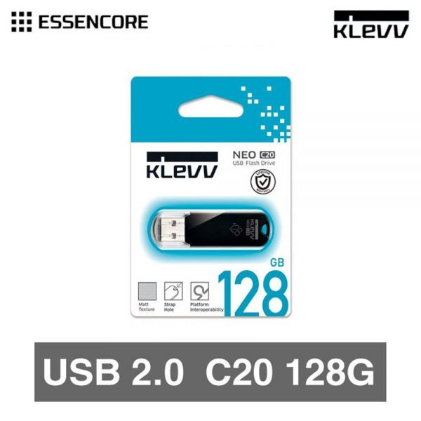 KLEVV USB 2.0 메모리 128GB USB메모리 휴대용 USB 외장 메모리