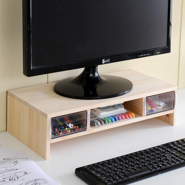원목 2단 모니터 서랍받침대 책상정리선반
