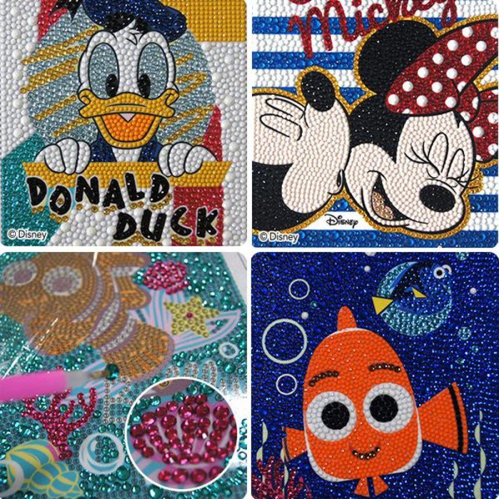 디즈니 3D 샤이닝큐빅 십자수 퍼즐(사이즈 15cm x 20cm) 화이트액자 포함 칠판 사무 마카 업무 문구도매