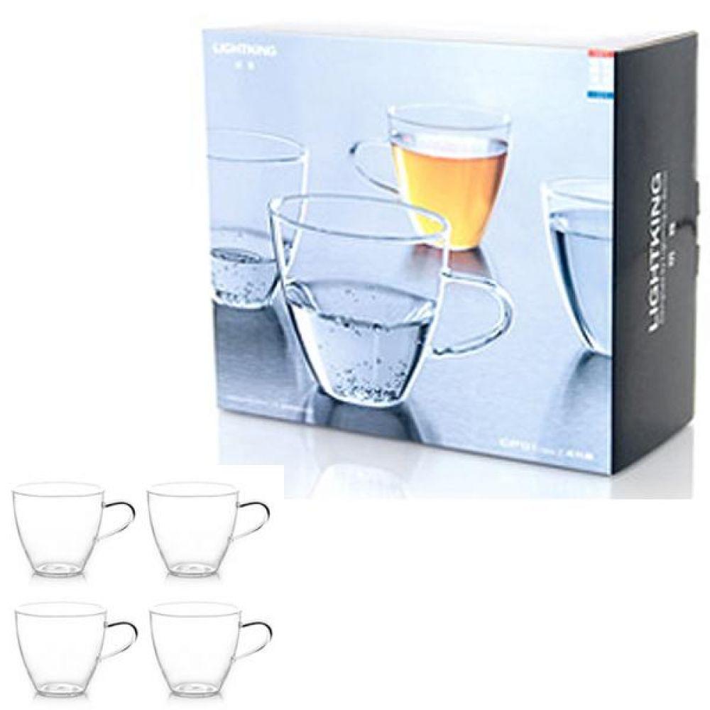 라이트킹 CP01 4p세트 명존 글라스 찻잔내열유리 차 커피 컵 잔 유리잔