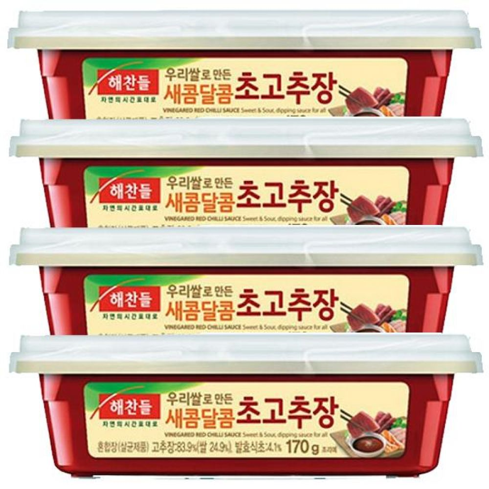 해찬들)새콤달콤 초고추장170g 사각x12개 볶음 참깨 회 회무침 식초 오징어 물회