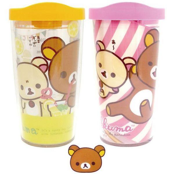 리락쿠마 에코젠 이중텀블러 500ml 아이스컵 텀블러 빨대컵 이중컵 투명컵