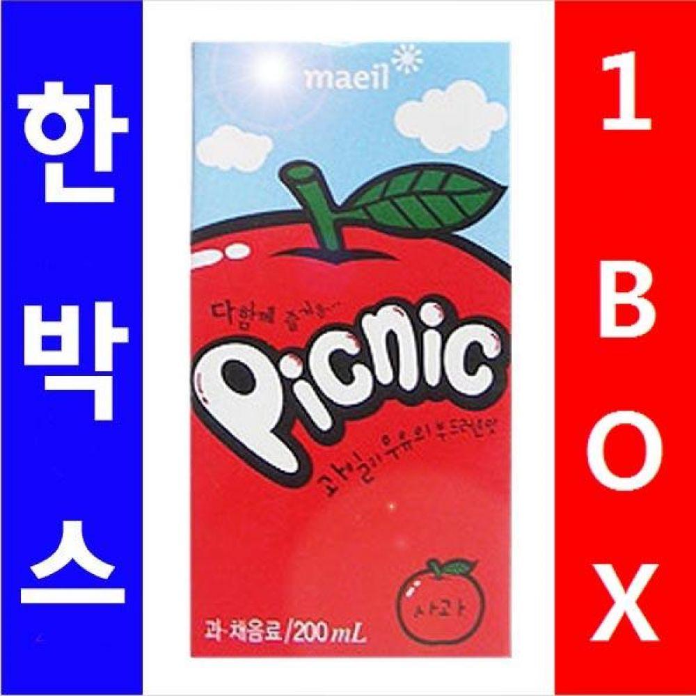 매일)피크 닉 사과팩 200ml 1박스(24개) 음료 사과팩 피크닉 과채음료 매일